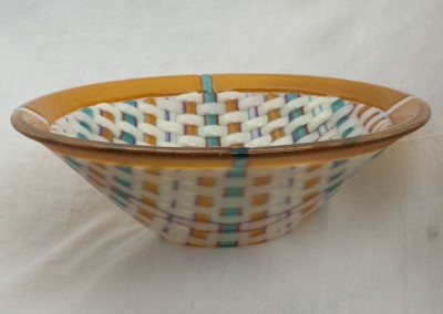 Woven Cone Bowl With Coral Rim