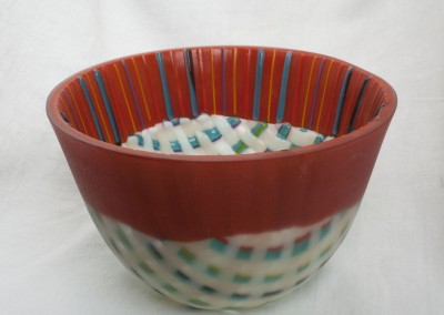 Deep Woven Bowl With Red Rim