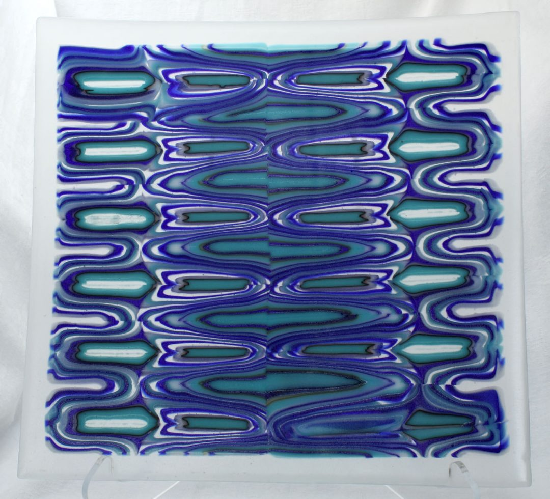 Square Platter With Patterned Glass
